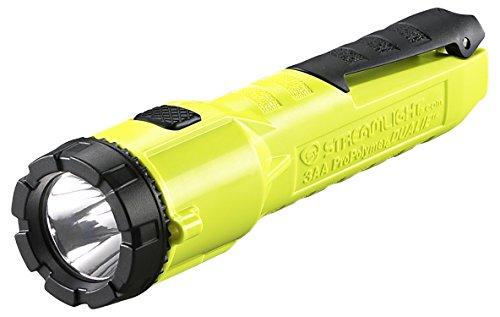 Streamlight 68750 Dualie 3AA Dual Beam Flashlight 140 Lumen Spot Beam and 140 Lumen Downward Facing Flood Light w/Built in Clip and Alkaline Batteries, Yellow - 245 Lumens total
