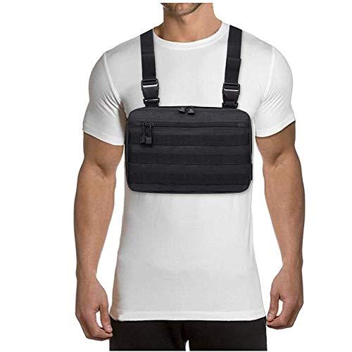 YYDZ Correa de Pecho Bolsas de Hombro Bolsa de Moda Ajustable Utilidad Transpirable Bolsillo del Chaleco de los Hombres Mujeres al Aire Libre (Color : Black)