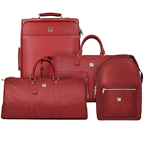 Packs Project - Elite Travel Luggage Set | 4 Piece Set Includes Spinner Suitcase, Weekender, Backpack, Duffel Bag | Airline Approved Vegan Leather with Gold Metal Zippers, Red