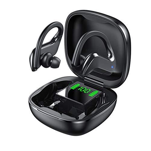 NXYJD Bluetooth 5.0 Auriculares Deportivos LED Auriculares inalámbricos, Auriculares estéreo con micrófono Auriculares de reducción de Ruido Impermeables