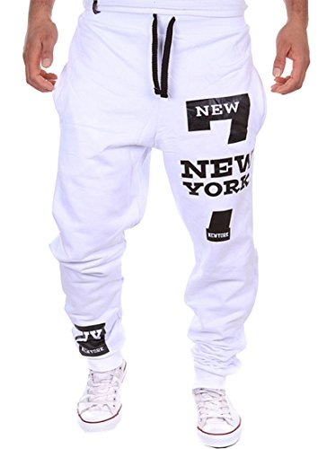 Cottory Men's Harem Casual Baggy Hiphop Dance Jogger Sweatpants Trousers White Large