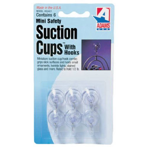 Adams Manufacturing 6-Pack Mini Suction Cup Hook, 3/4-Inch