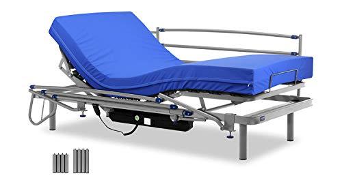 Gerialife® Cama articulada eléctrica con colchón Sanitario viscoelástico y barandillas | Patas más Altas (90x190, Plateado)