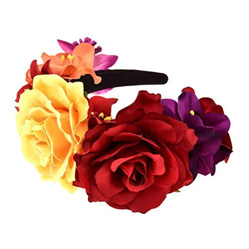 Minkissy Haarband mit Rosen, Vintage-Stil, handgefertigt, Kranz, Krone für Hochzeit, Party, Geburtstag, Halloween