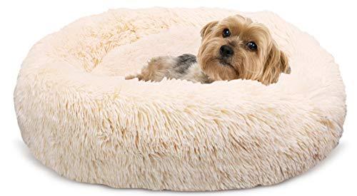 Docatgo Hundebett, Katzenbett, Haustierbett, 60x60cm Donut Bett für Katzen und Hunde, Plüschtier aus Kunstpelz mit Flusen, Bett mit Haustierkissen für Katzen und mittelgroße Hunde