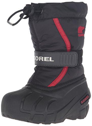 Sorel Flurry dziecięce buty zimowe dla chłopców, uniseks, czarny - czarny, czerwony, jasny czerwony. - 25 EU