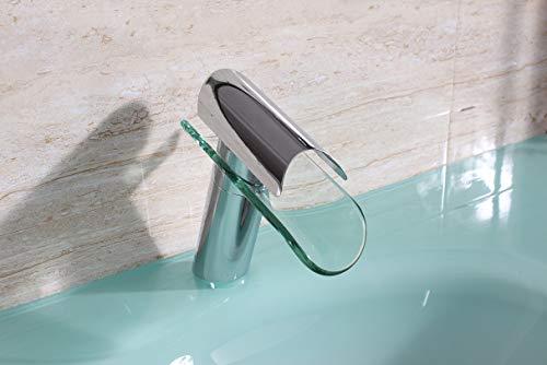 SAM Waschtischarmatur Cannes II, Glas & Edelstahl verchromt, runde Form, Wasserhahn mit Wasserfall-Auslauf