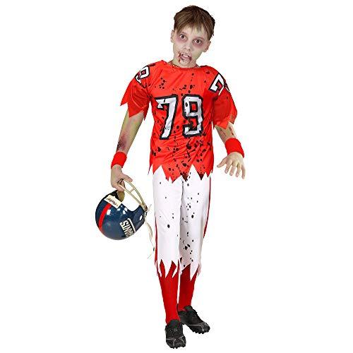 WIDMANN 03156 - Disfraz infantil de zombi con jugador de ftbol americano (128 cm), color rojo y blanco
