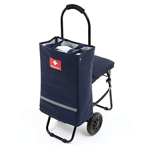 イス付き防災キャリーカート 着脱式トートバッグ レインカバー付き 大型タイヤ 防災セットを楽々持ち運び