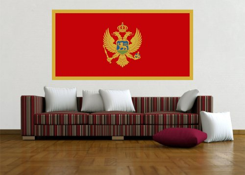Kiwistar Wandtattoo Sticker Fahne Flagge Aufkleber Montenegro 120 x 60cm