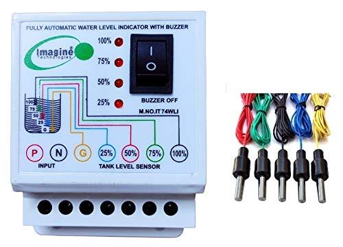 imagine technologies Water level Indicator with Alarm on Tank Full with 5 Sensors,1 Year warranty (White, IT74WLI)