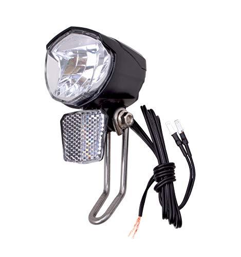 Filmer LED-Scheinwerfer für Anschluss an Dynamos 70 LUX - Fahrrad Lampe vorne STVZO zugelassen - mit Reflektor und Standlichtfunktion