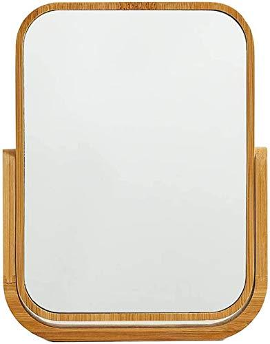 WWJ Tocador Espejo Marco de Madera Maciza Tratamiento de Superficie Antiguo Juego de tocador Dormitorio Baño Encimera Decorativa Espejo de pie Ángulo Ajustable (marrón)