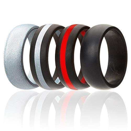 ROQ Silicone Wedding Ring for Men, 4 Pack Silicone Rubber Band - Silver, Black, Black with Thin Red Stripe, Black with Silver Stripe, Size 10 ROQ