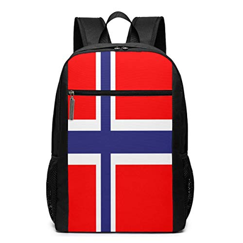 ZYWL Mochila para portátil con Bandera de Noruega, Mochila de Viaje de 17 Pulgadas, Mochila para Ne