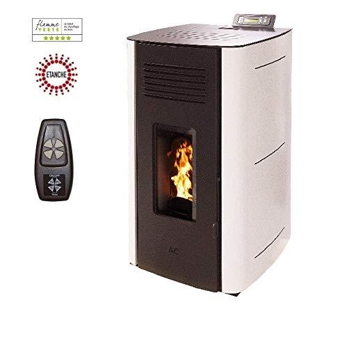 Poêle à granules HYDRO ELIO ETANCHE 13KW - Blanc option télécommande