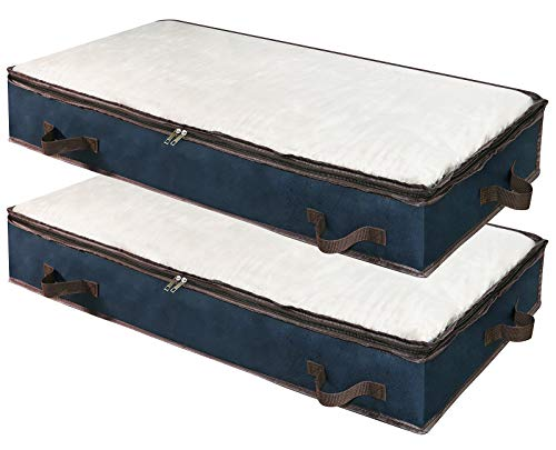 2 piezas 900D Oxford Bolsas de almacenamiento debajo de la cama con ventana transparente Mantas Ropa Edredón Bolsas de almacenamiento Organizador para dormitorio y armario, 100×50×15 cm, Azul oscuro