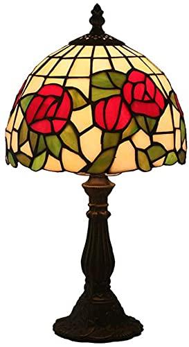 8 pulgadas Lamparas de Mesa estilo barroco europeo lámpara simple dormitorio mesita de noche lámpara de mesa de aprendizaje pantalla de vidrio de color E27