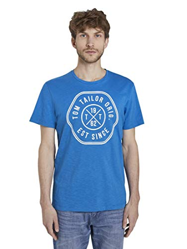 TOM TAILOR Camiseta para hombre Slub Melange Azul eléctrico. XL