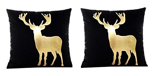2 kussenslopen vierkant kussen - sierkussen - 44 x 44 cm - bank - linnen - huis - bed - meubels - slaapkamer - hert - kerstmis - rendier - zwart - goud bedrukt - cadeau-idee