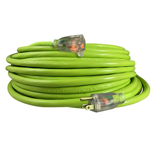 USW 12/3 Cold Weather Extension Cord w/ 2 Lighted Ends, 50ft, Safety Green