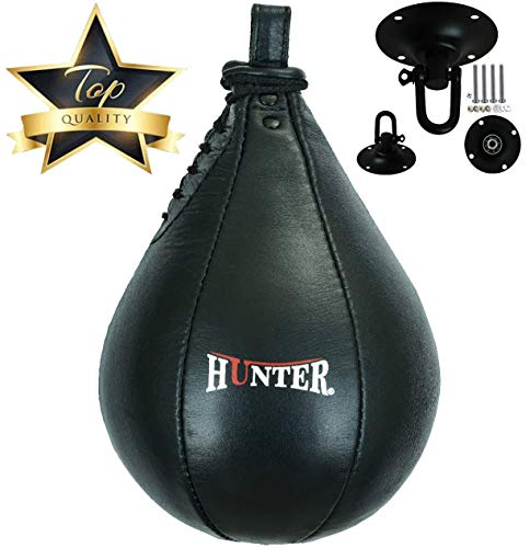 HUNTER Speed Ball Boxing Cow Hide Leather MMA Speed Bag Muay Thai Training Speed Bag Punching Dod...