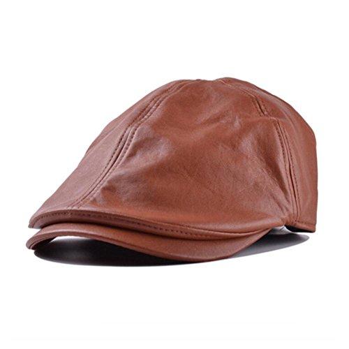 Xinantime Sombrero, PU Cuero Gorra Boina Sombreros Hombres Mujeres (Marrón)
