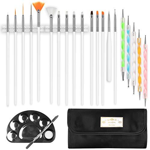 Nail Art Tool Kit manicure Penne per nail art, pennelli per nail art, pennelli per dettagli e penna per punteggiare, set di 15 pennelli, 5 penne, 2 portapenne, tavolozza per nail art e custodia