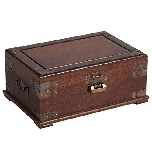 Mingcheng Joyero, palo de rosa de la vendimia joyería caja, palo de rosa tallado de madera de joyería Caja de almacenamiento con espejo y la cerradura, pendientes de ver el anillo de la caja de almace