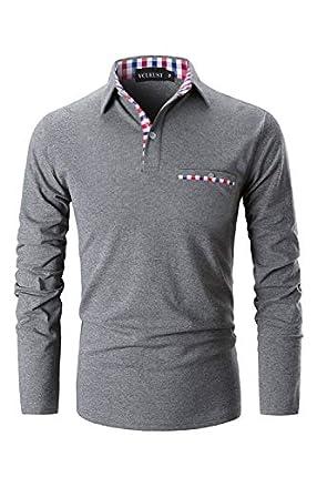 YCUEUST Polos Hombre Mangas Largas Camisas Algodón Slim Fit Camiseta Golf Clásico T-Shirts Gris Large