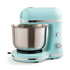 "VERSATILE: The Delish by Dash Stand mixer is the perfect kitchen accessory for the budding baker or home cook looking to mix, beat, cream, or whip something up—sweet or savory COMPACT: Weighing less than 5lbs, and standing only 10.5"" tall, the Dash S..."