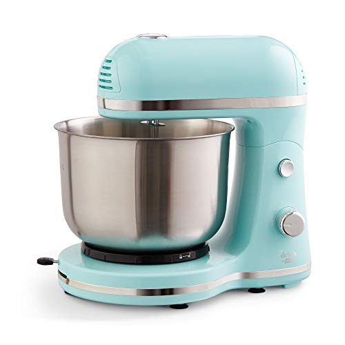 Delish by Dash Compact Stand Mixer 3.5 Quart with Beaters & Dough Hooks Included - Aqua, Blue (DCSM350GBBU02)