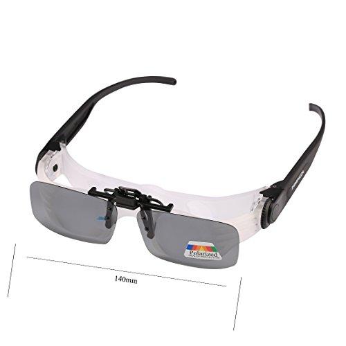 Andux Télescope Pêche réglable Portable 4X Magnification Multifonction Myopie presbytie Polarisation Glasses Focusable binoculaire Pêche Distance Affichage des Verres polarisés DYYJ-01