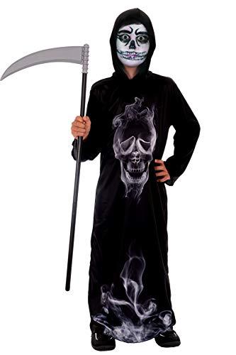 Magicoo Disfraz infantil de esqueleto de fantasma, color negro, incluye túnica y capucha, tallas de 110 a 140, disfraz de esqueleto de Halloween