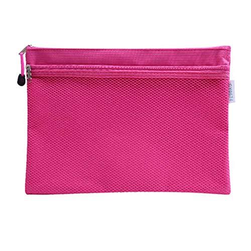 ファイルケース クリアケース カードケース ファイル袋 ペン入れファスナー式 撥水 持ち運びに便利 A4 網目 ファスナ 付き (ピンク3)