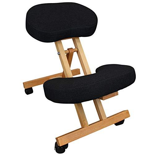 Vivezen ® Tabouret, chaise ergonomique, siège assis genoux en bois pliable et réglable - 3 coloris - Norme CE