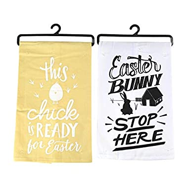 Easter Hand Kitchen Towels: Cute Funny Bunny Humor (Yellow and White)