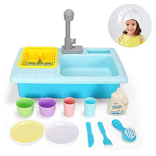 Tulipdesc Küche Spielzeug Kinder Spielhaus, tragbare Spielzeug Waschbecken und echte Arbeitshahn und Abfluss