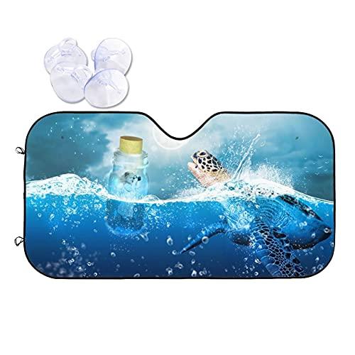 DJNGN Sea Turtle Drift Bottle Girl Sunshine Ocean Car Parasol para parabrisas, Protector de parasol para coche, camión, SUV, Protector de visera de rayos Uv, Efecto reflectante de parasol para mantene
