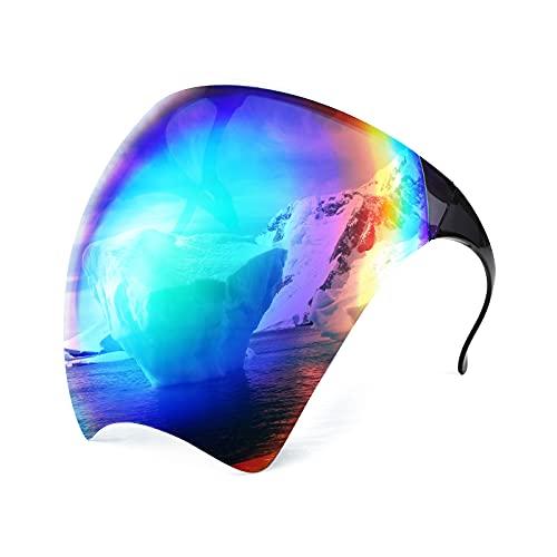 FEISEDY Gesichtsschutz Visierbrillen Oversized Schild Sonnenbrille UV400, Gespiegelt Flat Top Futuristischer Gesichtsabdeckung Sonnenbrillen für Herren Damen B2781