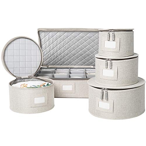 China Storage Set Hard Shell and Stackable for Dinnerware Storage and Transport Protects Dishes Cups and Mugs Felt Plate Dividers Included Cream 5 Piece Set