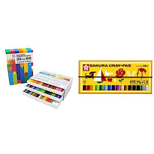 【セット買い】サクラクレパス 色鉛筆 クーピー Limited Edition FY60-AZ 60色セット & クレパス 16色 ゴムバンド付き LP16R
