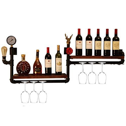 Soporte organizador de botelleros Creative Loft Industrial Wind Pipe Rack Wine Rack, Práctico Bar Pared Negro Metal Water Pipe Wall Hanging Wine Rack Estantes de exhibición del soporte del almacenamie