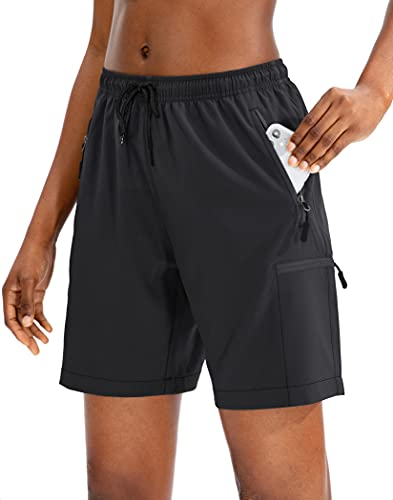 SANTINY Women's Hiking Cargo Shorts Quick Dry Lightweight Summer Shorts for Women Travel Athletic Golf with Zipper Pockets(Black_L)