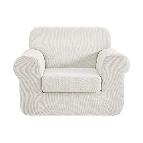 CHUN YI 2-Stück Jacquard Sofaüberwurf, Sofaüberzug, Sofahusse, Sofabezug für Sofa, Couch, Sessel, mehrere Farben (1-Sitzer, Beige)