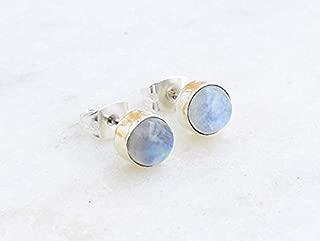Rainbow Moonstone Stud Post Earring 925 Sterling Silver Gemstone Earring 6 MM Round Gift