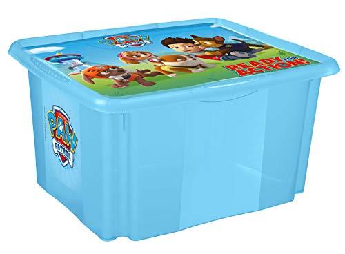 keeeper Caja de almacenamiento con tapa Patrulla canina, Giratoria y apilable, Para niños, 24 l, Paulina, Azul transparente