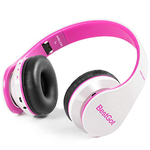 Bluetooth Kids Headphones Bluetooth BestGot BT6002 Wireless Headphones for Kids Children Adults for School Foldable Headset for 18 Hours for PC/Phone/Tablets/TV (White/Pink)