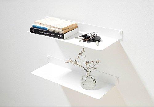 TEEbooks Wandboard - Set mir 2 - Stahl - Weiß - 45 x 15 x 5 cm