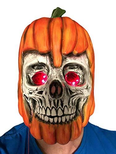 Rubber Johnnies , Máscara de calabaza para adultos, Jack O Rotten, látex con ojos LED, miedo, espeluznante, máscara de cosecha oscura